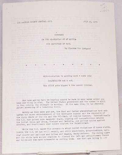 Los Angeles: Los Angeles County Central Jail, 1978. Seven page press release, 8.5x11 inches, unbound...