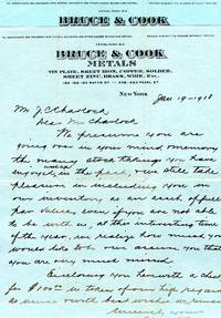 Two letters on Bruce and Cook Metals Letterhead, New York, 1918 and 1920, ALS and TLS to Mrs. Jason C. Charlock from Bruce and Cook