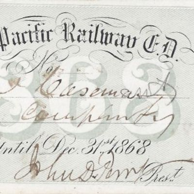 1868. Union Pacific Railroad The Transcontinental Railroad made possible the winning, settlement and...