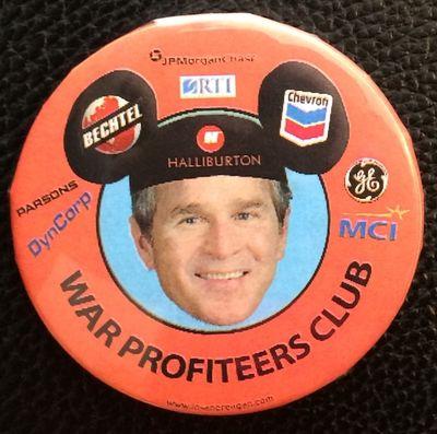 n.p.: Ronald Reagan Home for the Criminally Insane, . 2.25 inch diameter pin, Bush Jr. wearing Micke...