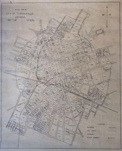 Thomasville Georgia Map.Abaa Block Map Of City Of Thomasville Georgia By Layton C E