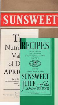 """Trade/Agricultural Ephemera: Three Sunsweet recipe booklets, 1930s """"Prunes for Good Health"""", """"Sunsweet Juice"""" """"The Nutritional Value of Dried Apricots"""