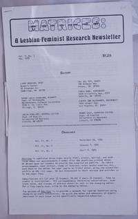Matrices: a lesbian/feminist research newsletter, vol. 5, #3, May 1982