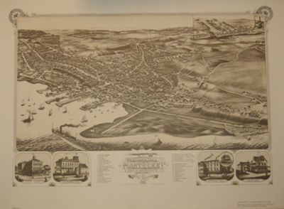 Madison, Wisc.: J. J. Stoner, 1881. Facsimile Reproduction. A fine bird's eye view map of the town o...