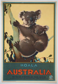 'Koala (native bear) Australia. Particulars at shipping and travel agencies'.  Color travel poster by  James [Poster; Australia]  Northfield  - 1930  - from Antipodean Books, Maps & Prints (SKU: 25919)