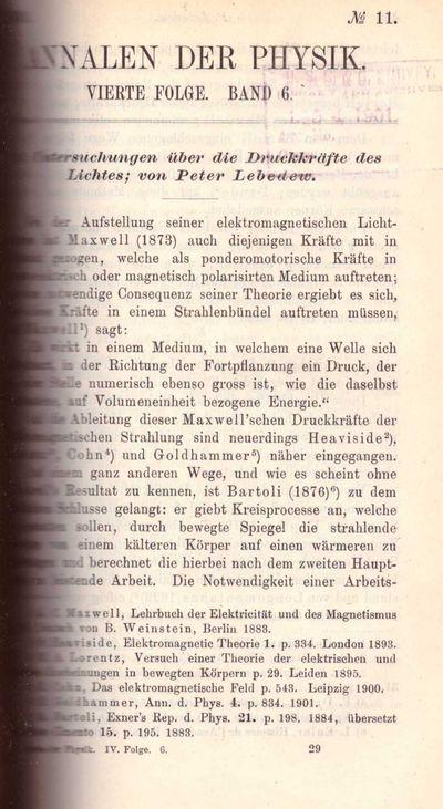 Leipzig, Germany: Johann Ambrosius Barth, 1901. First Edition. Three Quarter Leather. Very Good. Pyo...