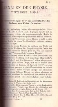 PRESSURE OF LIGHT: Untersuchungen über die Druckkräfte des Lichtes(Annalen der Physik: Vol....