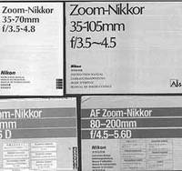 Nikon Camera manuals for the Zoom-Nikkor 35-105mm f/3.5~4.5, AF Zoom-Nikkor 35-80mm f/4-5.6D, AF Zoom-Nikkor 80-200mm f/4.5-5.6D. by Nikon Corporation (Tokyo) - Paperback - from Alan Wofsy Fine Arts and Biblio.com