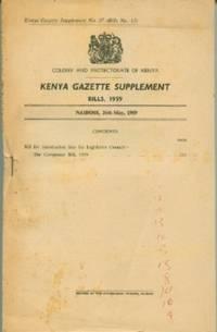 Kenya Gazette Supplement No. 37 Bills 1959