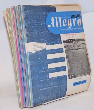 New York: AF of M Local 802, 1948. Magazine. Twenty-two issues of the monthly magazine, a complete r...