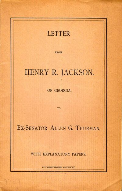 Atlanta: V. P. Sisson, 1887. First Edition. Wraps. Very good. 8vo. Printed, stitched wraps. 16 pages...