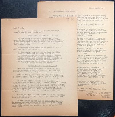 Cambridge, MA: the Group, 1967. An 8.5x11 inch leaflet mimeographed both sides, and a two page maile...