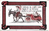 image of Donkey Pulling Broken Car on 1913 Comic Humor