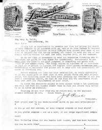 Victorian Illustrated Letterhead, The International Tailoring Co., Importers of Woolens, New York, letter to Clothing Shop in Maine