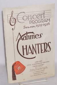 Concert program season 1925-26: Aahmes Chanters; Oakland Civic Audtiorium Theatre first concert