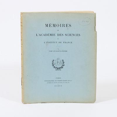 Paris: IN: Mémoirs de L'Académie des Sciences de L'Institut de France, Typographie de Firmin-Didot...