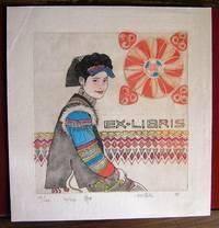 image of Ex-libris chinois. Jeune fille assise de côté