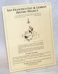 San Francisco Gay History Project [handbill]