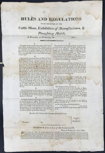 OCLC lists a copy of a similarly titled broadside , dated 1819, at AAS.