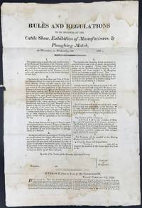 RULES AND REGULATIONS / TO BE OBSERVED AT THE / CATTLE SHOW, EXHIBITION OF MANUFACTURES, & / PLOUGHING MATCH, / AT WORCESTER, ON WEDNESDAY, THE [...] 182[ ]. [caption title]