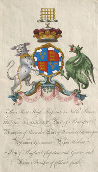 Family Crest of The Most High, Puissant & Noble Prince, Henry Somerset, Duke of Beaufort, Marquis of Worcester, Earl of Worcester & Glamorgan, Viscount Grosmont, Baron Herbert, Lord of Ragland, Chepstow and Gower and Baron Beaufort of Caldecot Castle