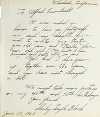 Autograph Letter Signed to Alfred Eisenstaedt, Woodside, CA, June 1965 by Black, Shirley Temple