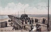 image of 1910 Mile Long Bridge, Hampton River, N. H. Trolly