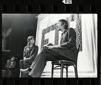 Jane Fonda, Donald Sutherland, Paul Mooney, Len Chandler in Free Theater Associates. Fort Dix, NJ. Sept. 1970