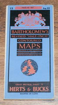 "Hertfordshire and Buckinghamshire - Bartholomew's Revised ""Half-Inch"" Contoured Maps, Great Britain Sheet 15 (Herts and Bucks) by John Bartholomew & Son Ltd - Paperback - Revised Edition - 1944 - from Bailgate Books Ltd and Biblio.com"