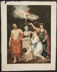 Aesculapius, Flora, Ceres and Cupid honouring the Bust of Linnaeus.  Engraving