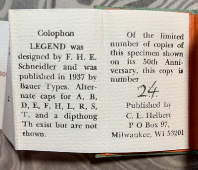 Milwaukee, WI: ABCDarium of Clifford L. Helbert, 1987. First Edition. Hardcover. Like New. Miniature...