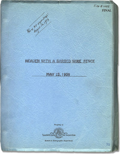 Los Angeles: Twentieth Century-Fox, 1939. Final Script for the 1939 film,