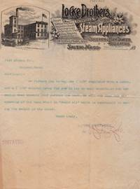 TLS from Locke Brother's Steam Appliances of Salem, Mass.  to Farr Alpaca Co. of Holyoke, Mass., 1891 on illustrated letterhead