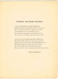 I KNOW AN IRISH GARDEN (for LOW voice in F) by  Gerald (words/lyrics)  Anna (music); Fitzgerald - 1938 - from Sunset Books and Biblio.com