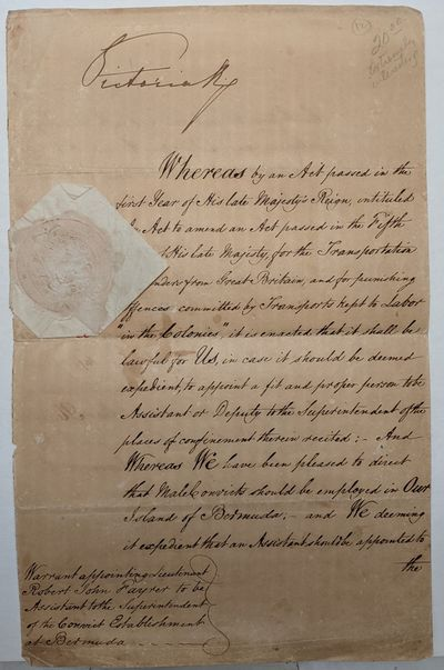 1844. very good. PRISONERS IN PARADISE! Exceptional Manuscript Document signed