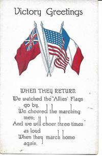 image of Victory Greetings w/ 3 Allied Flags and Poem on WWI Propaganda Postcard