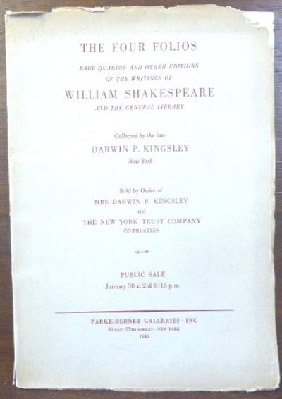 New York: Parke-Bernet Galleries, 1941. The sale catalogue of the Darwin P. Kinglsey collection. Sal...