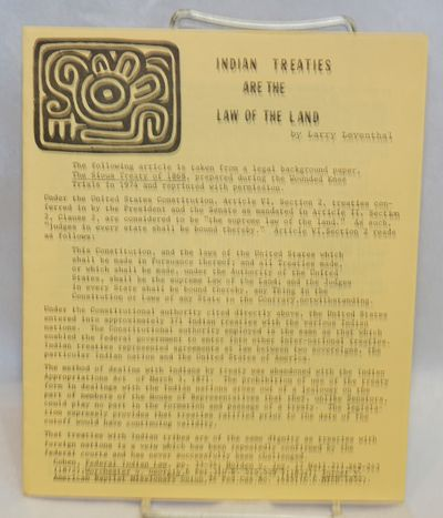 New York: Committee on Native American Struggles, National Lawyers Guild, n.d.. Four-panel brochure,...