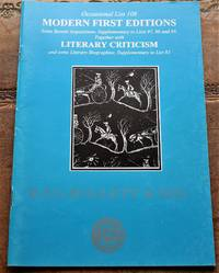 image of R F G HOLLETT & SON Occasional List 108 Modern First Editions and Literary Criticism