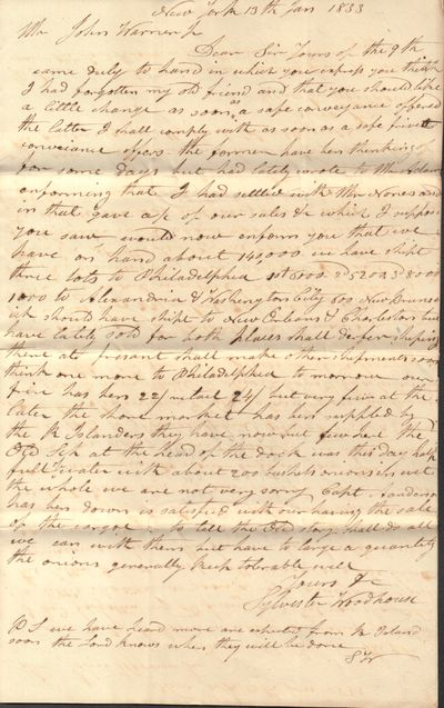 Good. Autograph Letters Signed. Small collection of documents from the estate of John Warner, a farm...
