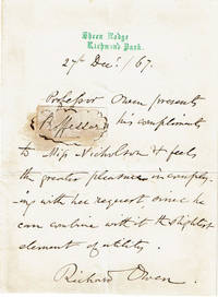 HOLOGRAPH LETTER SIGNED by PALEONTOLOGIST RICHARD OWEN who is credited with first coining the word DINOSAUR.