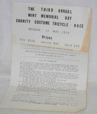 image of The Third Annual Mint Memorial Day Charity Costume Tricycle Race: [handbill] Monday 27, May 1974