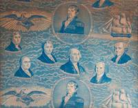 Printed French Textile of American Presidents. Roller-printed in blue on white ground with the likenesses of the 7 Presidents from Washington to Andrew Jackson. With the Legends in English