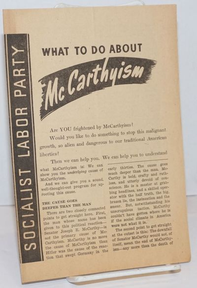 New York: Socialist Labor Party, 1954. Four panel brochure, paper browned else good condition, 6x8.7...