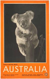 image of 'Koala (native bear) Australia'.  Photolithograph travel poster