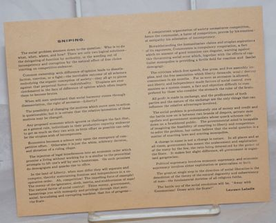 : , . Leaflet, 7x5.5 inches, printed on one side only, evenly toned, 0.5 inch closed tear else very ...