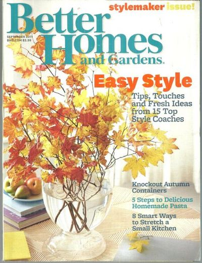 BETTER HOMES AND GARDENS MAGAZINE SEPTEMBER 2011, Better Homes and Gardens