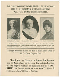 """The 'Three Immediate Women Friends' of the Anthony Family"" Southern Broadsheet Urges Opposition to Women's Suffrage Because of its Support of Racial Equality and Opposition to Traditional Christianity"