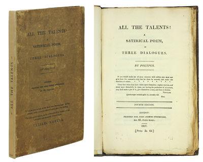 8vo. London: John Joseph Stockdale, 1807. 8vo, xvi,81, (3, ads)pp. Original printed boards, rebacked...
