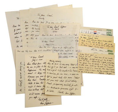 1939-1947. Twelve postcards, two 2-page letters, and six one-half to full page letters. A number are...